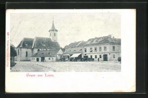AK Wien-Lainz, Kutschen halten vor einer Warenhandlung