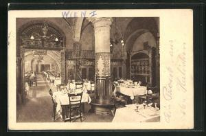 AK Wien, Wiener Rathaus-Keller, Rosenstüberl, Blick gegen den grossen Saal