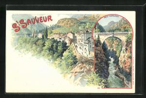 Lithographie St. Sauveur, Panorama & Pont Napoleon
