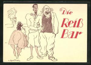 Künstler-AK Wien, Restaurant Reiss-Bar, Dorotheergasse 7, Singende Männer