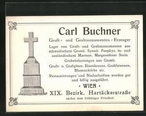 AK Wien, Gruft- und Grabmonumenten-Erzeuger Carl Buchner, Hartäckerstrasse