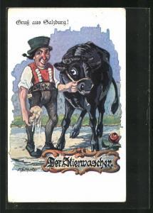 Künstler-AK Salzburg, Der Stierwascher