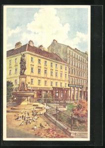 Künstler-AK Wien, Filiale Julius Meinl, Neustiftgasse 28 und der Liebe Augustin-Brunnen