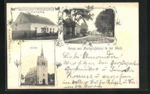 AK Markgrafpieske i. d. Mark, Handlung von Carl Ludwig, Kirche, Dorfstrasse