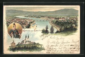 Lithographie Linz a. D., Pöstlingberg mit der elektrischen Steilbahn, Panorama