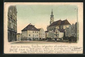 AK Schärding, Stadtplatz mit Kirche