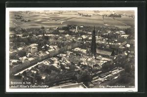 AK Braunau a. Inn, Fliegeraufnahme der Innenstadt