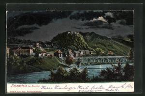 Mondschein-AK Losenstein i. Ennstal, Teilansicht mit Brücke bei Nacht