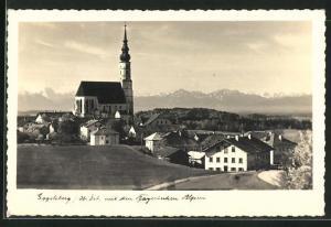 AK Eggelsberg, Teilansicht mit Kirche, Alpenpanorama