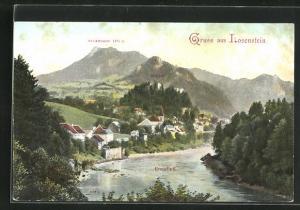 AK Losenstein, Ortsansicht mit Enns, Ruine und Schieferstein