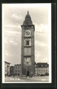 AK Enns, Ortspartie mit Turm u. Stadtamt