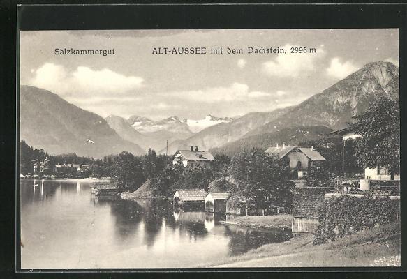 AK Alt-Aussee, Ortsansicht mit dem Dachstein 0
