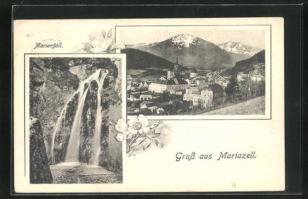 AK Mariazell, Marienfall und Ortsansicht 0
