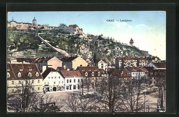 AK Graz, Lendplatz mit Bäumen 0