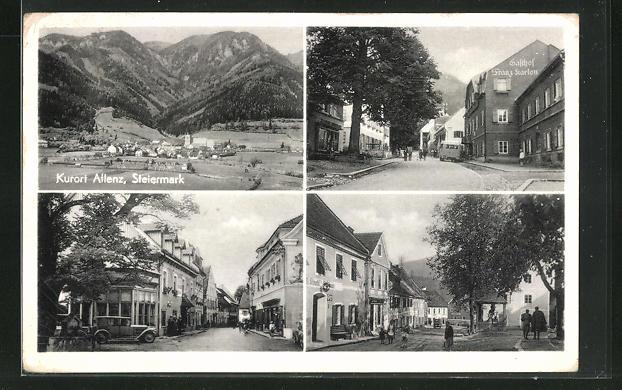 AK Aflenz, Gasthof Franz Karlon, Ortsansicht, Strassenpartien mit Gebäudeansichten 0