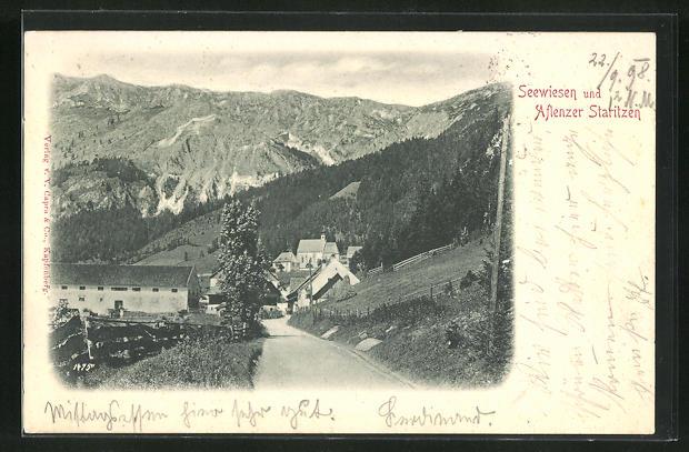 AK Seewiesen, Ortsansicht mit Aflenzer Staritzen 0
