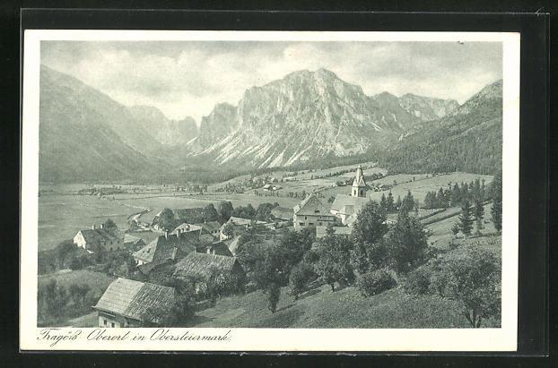 AK Tragöss-Oberort, Ortsansicht mit Bergen 0