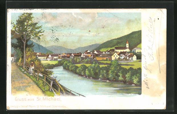 AK St. Michael, Ortsansicht über den Fluss 0