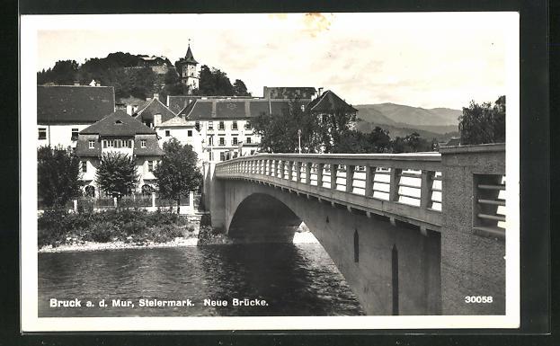 AK Bruck a.d. Mur, Partie an der neuen Brücke 0