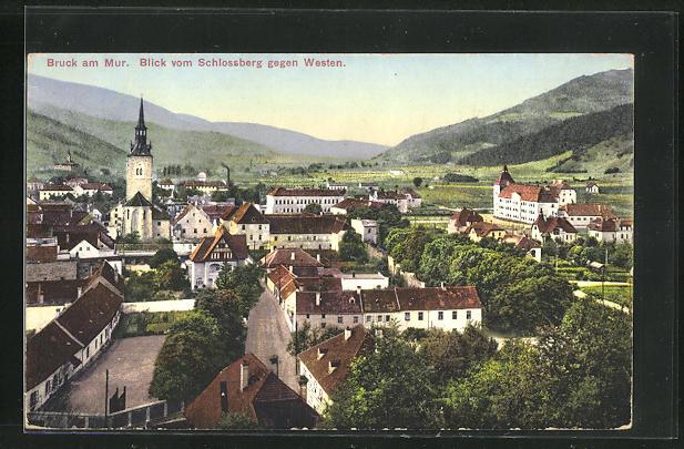 AK Bruck a. Mur, Blick auf den Ort vom Schlossberg gegen Westen 0