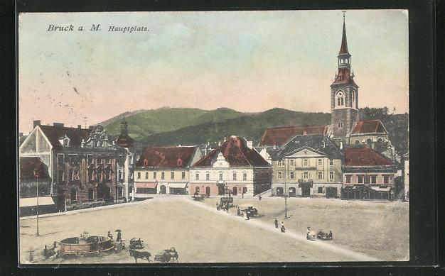 AK Bruck a. Mur, Hauptplatz mit Kirche 0