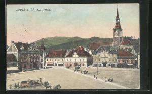 AK Bruck a. Mur, Hauptplatz mit Kirche