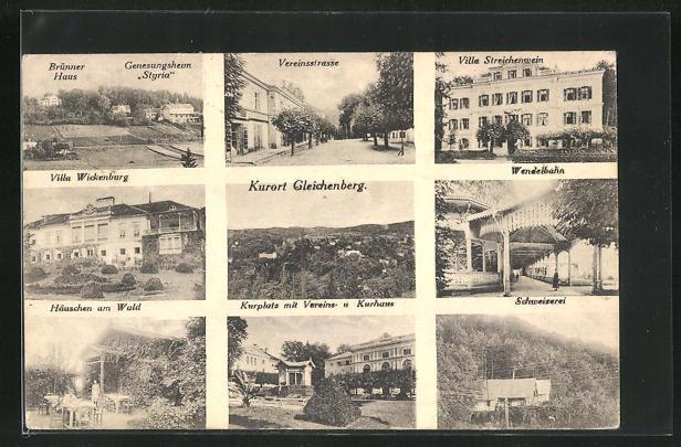 AK Bad Gleichenberg, Neun Ansichten des Ortes 0