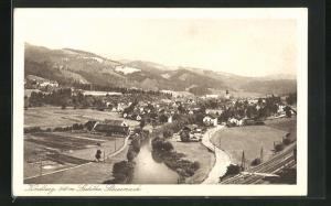 AK Kindberg, Ortsansicht aus der Vogelschau
