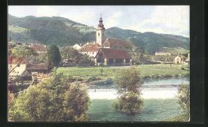 AK Kindberg, Teilansicht mit Kirche