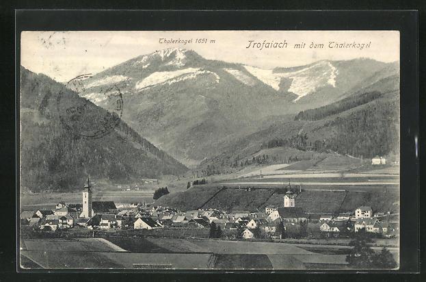 AK Trofaiach, Ortsansicht mit dem Thalerkogel 0