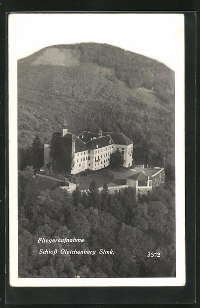 AK Gleichenberg, Fliegeraufnahme vom Schloss 0