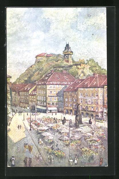 Künstler-AK Graz, Hauptplatz mit Markttreiben 0