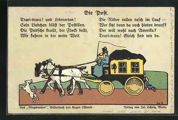 Künstler-AK Postkutsche mit zwei Pferden, Gedicht 0