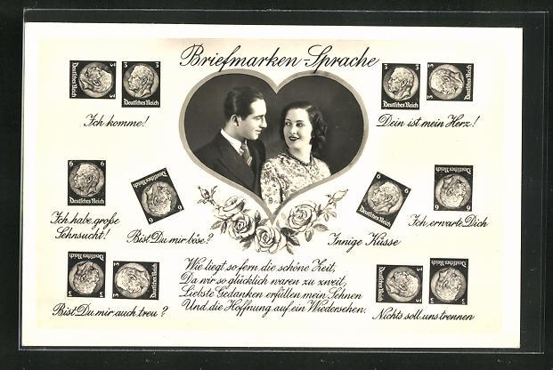 AK Pärchen im Herz schaut sich verliebt an, Briefmarkensprache 0