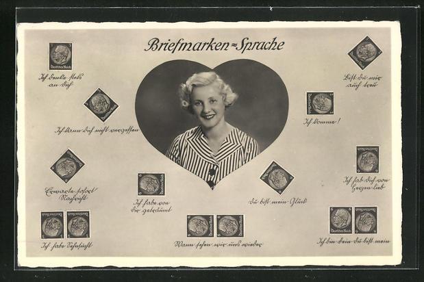 AK junge Frau lächelnd im Herz, Briefmarkensprache 0