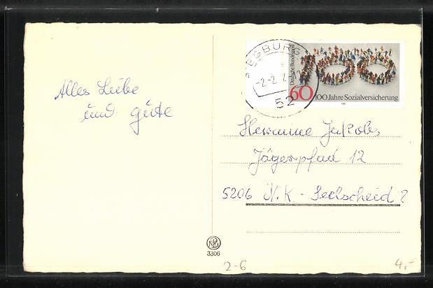 AK junge Frau lächelnd im Herz, Briefmarkensprache 1