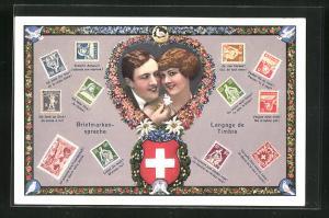 AK verliebtes Pärchen im Herz, Briefmarkensprache, Schweizer Wappen