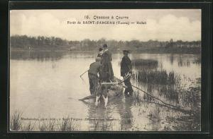 AK Saint-Fargeau, Chassee á Courre, Jäger am Ufer, Jagd