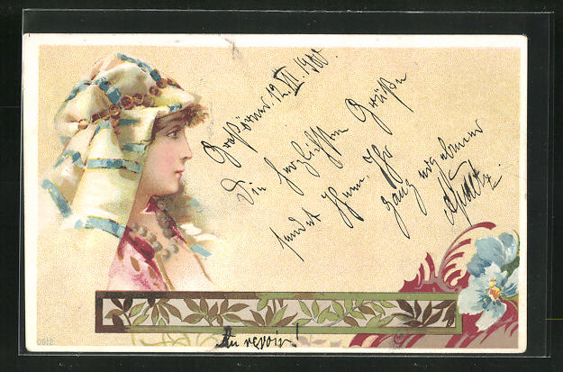 Lithographie Frau mit Kopftuch, Jugendstil 0