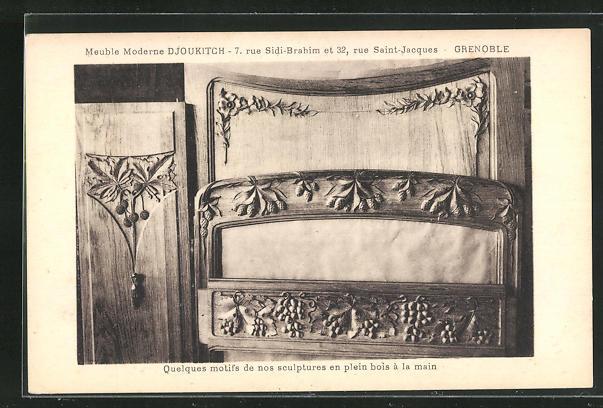 AK Grenoble, Quelques motifs de nos sculptures en plein bois à la main, Art Deco 0