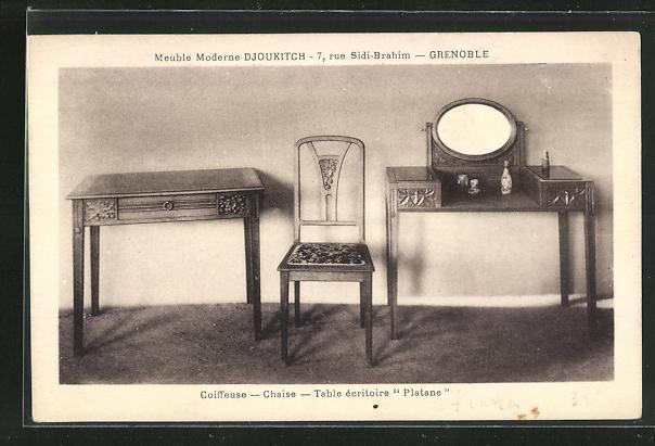 AK Granoble, Djoukitch, Coiffeuse, Chaise, Table ecritoire Platane, Art Deco 0