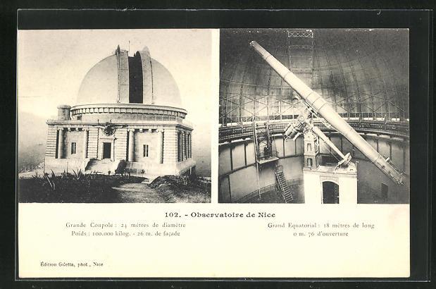 AK nice, Observatoire, Grand Couple, Grand Equatorial, Observatorium 0