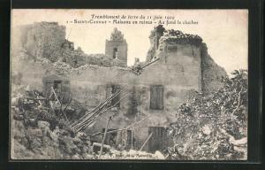 AK Saint-Cannat, Maisons en ruines, au fond de clocher, zerstörtes Gebäude nach dem Erdbeben