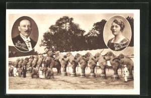 AK Zirkus Krone, Der grösste Zirkus Europa, Karl und Ida Krone im Porträt, dressierte Elefanten