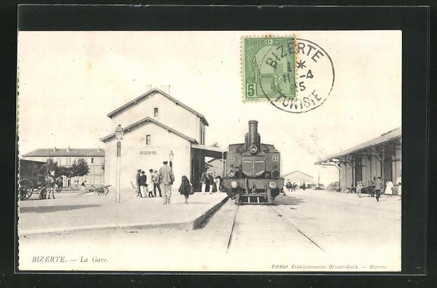 AK Bizerte, La gare, Bahnhof mit Eisenbahn 0