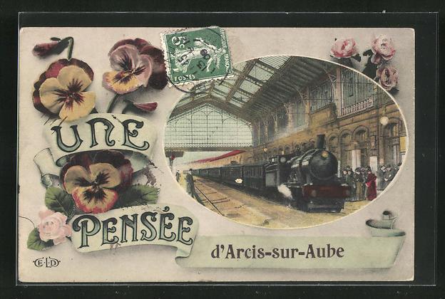AK Arcis-sur-Aube, Eisenbahn bei der Einfahrt in den Bahnhof 0