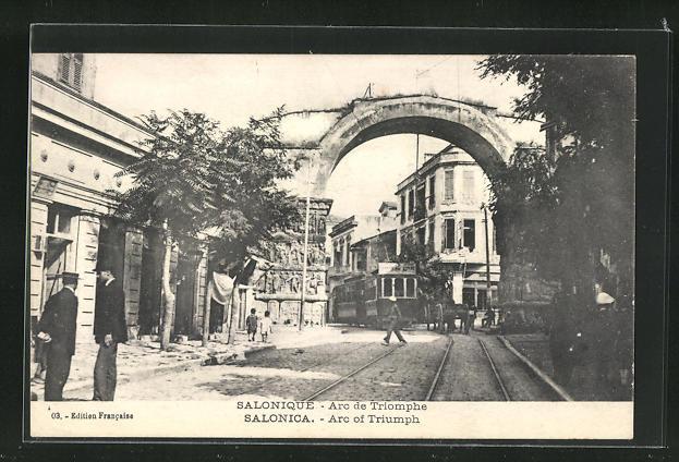 AK Salonique, Arc de Triomphe, Triumphbogen mit Strassenbahn 0