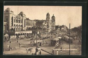 AK Calcutta, Chowringhee and tram terminus, Strassenbahn