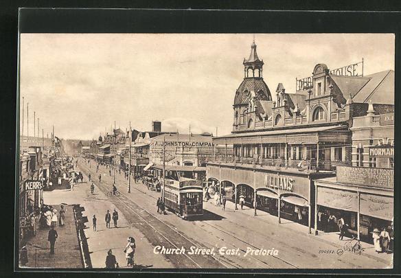 AK Pretoria, Church street, east, Strassenpartie mit Strassenbahn 0