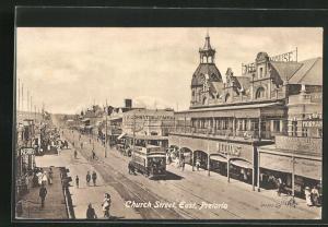 AK Pretoria, Church street, east, Strassenpartie mit Strassenbahn